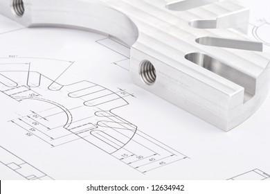 workpiece on a blueprint