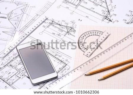 workplace architect architectural design graph paper stock photo