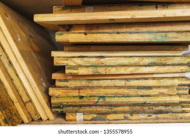 Workplace artist close-up. Wooden base for canvas or paper, stretcher. Soft focus and beautiful bokeh. Concept for art school or artist.