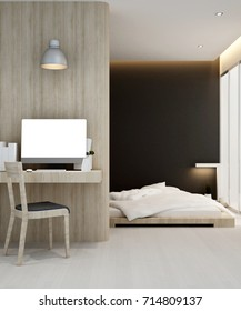 workplace and bedroom in hotel or apartment - Interior design - 3D Rendering