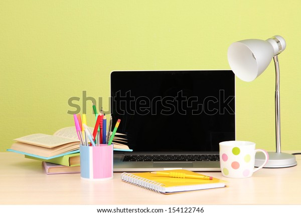 Workplace with computer, close up