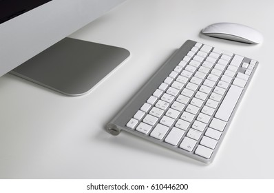 Workplace with computer, keyboard and mouse