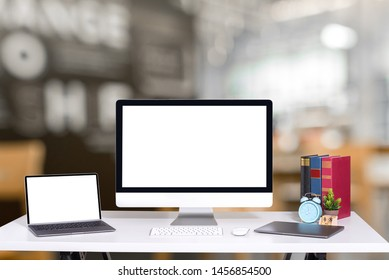 Workplace with computer on a desk in an office  Business Concept  Blank screen computer.