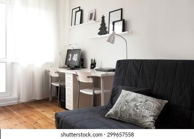 Workplace designer minimalist residential interior. Modern apartment interior in Scandinavian style