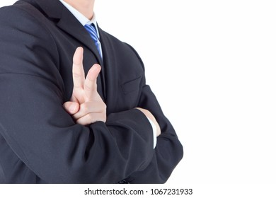 Workplace male showing victory gesture