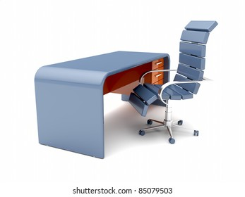 Workplace with minimalistic designed desk and blue chair