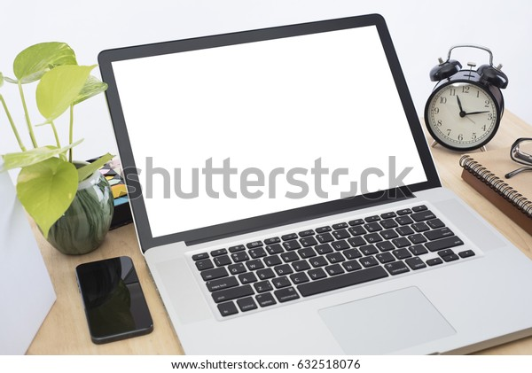 workplace with modern computer white screen on desk office.