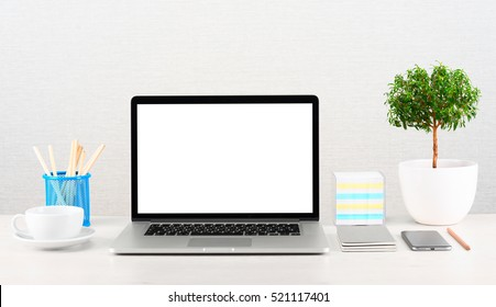 Workplace with modern gadgets. Laptop, tablet and smartphones