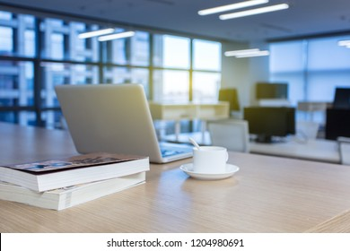 Workplace with notebook laptop Comfortable work table in office