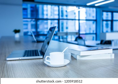 Workplace with notebook laptop Comfortable work table in modern office
