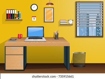 Workplace in room with view city at window