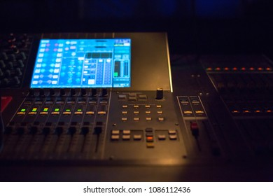 Workplace of sound engineer.