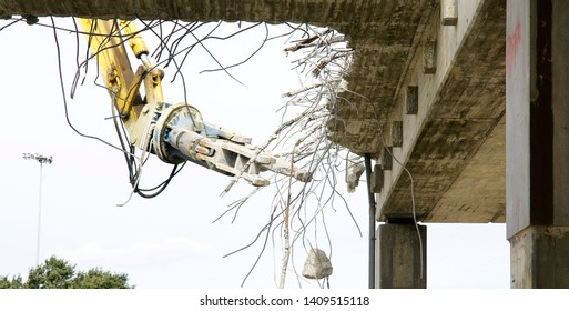 Works of deconstruction of the road ring of Les Glories, Barcelona, Catalunya, Spain, Europe
