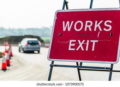 Works Exit Roadworks sign on UK motorway