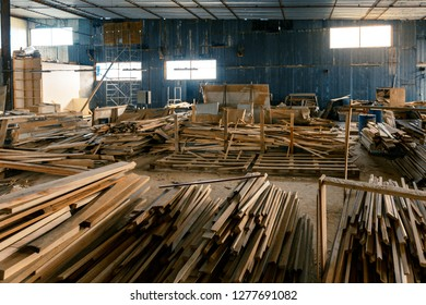 Workshop of a furniture factory. The concept of production, manufacturing and woodworking, manual labor, freelancing and own business