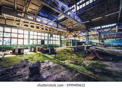 Workshop of old Jupiter Factory, Pripyat abandoned city in Chernobyl Exclusion Zone, Ukraine - Shutterstock ID 1999490612