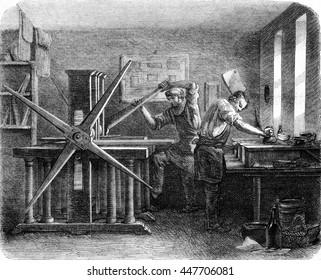 Workshop printers intaglio, vintage engraved illustration. Magasin Pittoresque 1852.