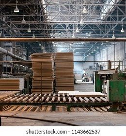 Workshop for the production of particle boards. Manufacture of chipboard, veneer, plywood, wood panels. Wood processing. Woodworking industry
