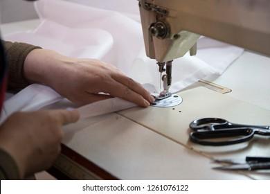 Workshop in sewing ramie fabric