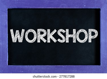 Workshop word On blackboard background