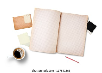 Workspace with coffee cup, note paper and notebook, isolated on white background