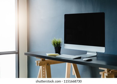 workspace with computer on home or studio and office,business concept