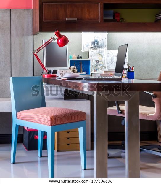 Workspace Designer Modern Home Office Desk Stock Photo Edit Now 197306696