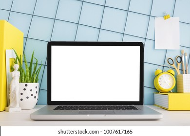 Workspace mockup concept. Mock up modern home decor laptop computer, houseplant, products display montage. Mockup desktop.