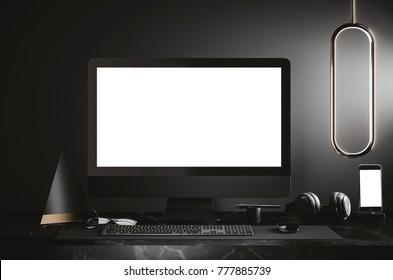workspace mockup on dark background