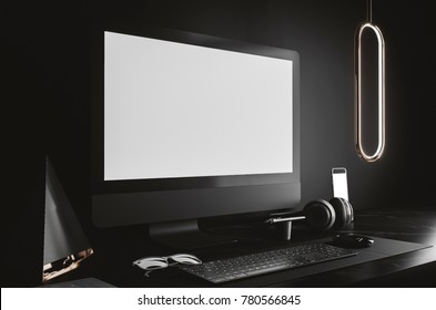 workspace mockup on dark background
