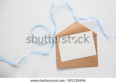 workspace mockup wedding invitation cards envelopes stock photo