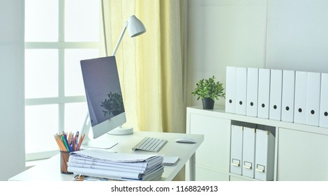Workspace presentation mockup, Desktop computer and office supp