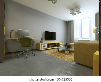 Workspace with table in modern living room. 3D render.