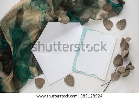 workspace wedding invitation cards envelopes grey stock photo edit