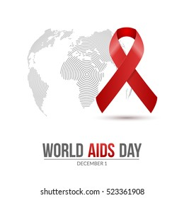 World AIDS Day. 1st December World Aids Day hiv poster. medical illustration desease with red ribbon.
