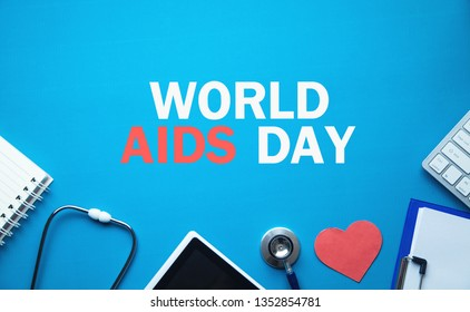World AIDS Day in blue background.
