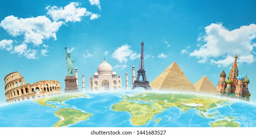 World attractions behind the globe. Travel concept.