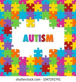 World autism awareness day. Colorful puzzle background. Symbol of autism. Illustration
