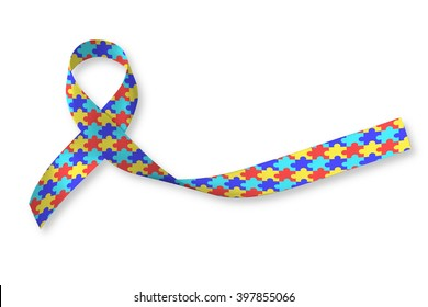 World Autism awareness and pride day with Puzzle pattern ribbon isolated on white background with clipping path