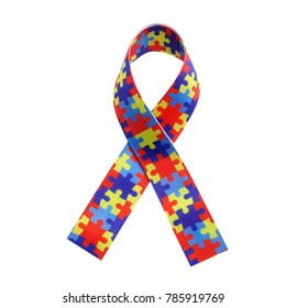 World Autism awareness and pride day with Puzzle pattern ribbon isolated on white