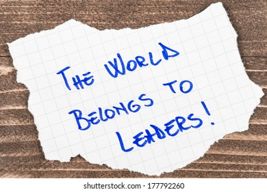 The World Belong to Leaders, handwritten on a piece of paper