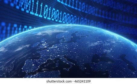 World with a binary code background - internet concept 3d illustration