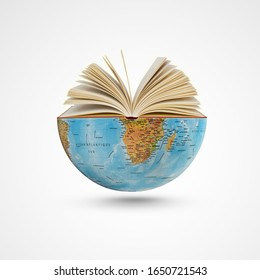 world book day,23th April, open book over the Planet on isolated white background, Mental Health Day concept, books pile and globe,World literature concept, Knowledge information, earth day concept,