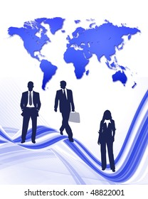 world business with business people on abstract pattern and world map in background