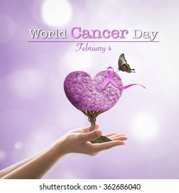 World cancer day with Lavender purple ribbon for raising awareness on all kind of cancer illness