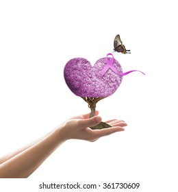 World cancer day and  National cancer survivors month concept with lavender purple ribbon awareness on heart tree