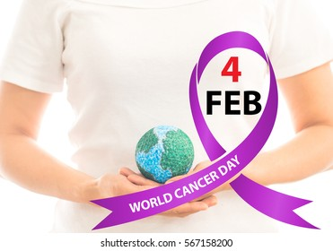 World Cancer Day with ribbon. February 4 / lavender purple colour symbolic ribbons for raising awareness of all kind tumors supporting people living. / illness
