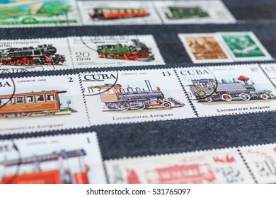 WORLD - circa 1950-2000: Horizontal background of definitive WORLD postage stamps, including stamps from USSR, EUROPE, etc
