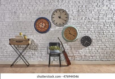 world clock modern brick walls and interior concept