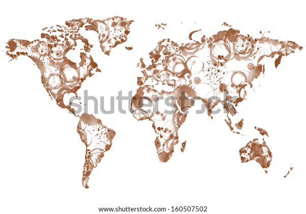 World coffee map made from coffee spot